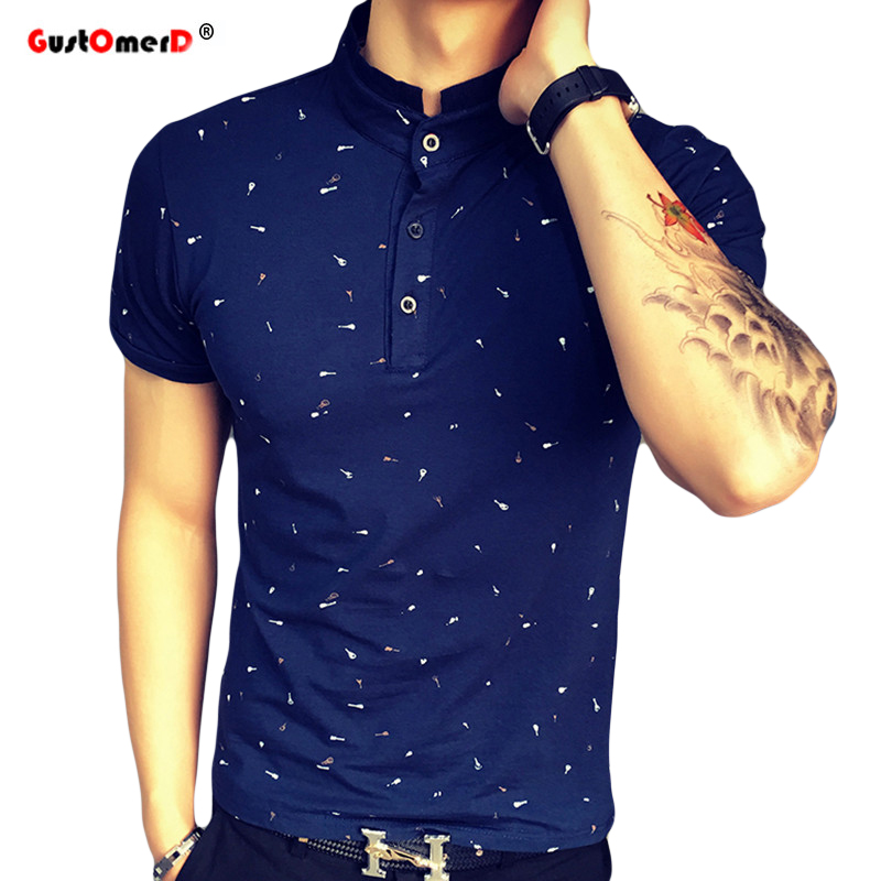 2019 Summer Guitar Printed Stand Collar   Polo   Shirt Men Short Sleeve Casual Men Shirts Slim Fit   Polo   Homme Cotton Mens   Polos