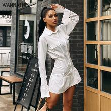 Женское платье рубашка wannathis белое и зеленое офисное с расклешенными