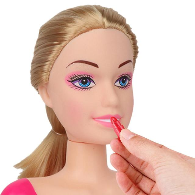 New Fashion Princess Styling Head Doll Toy With Hair Clip Brush Beauty Makeup Accessories Pretend Play Toys For Girls 2