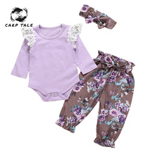 3pcs Kid Baby Girls Clothing Long Sleeve Cloth Set Purple Floral Jumpsuit Romper + Pants + Headband Outfits Girl Clothes Sets цена