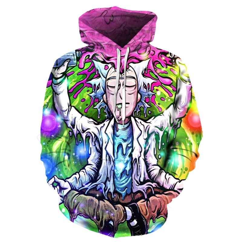 Hoodies Anime Rick And Morty 3D Print Hoodies With Hat Men Hoodie Loose Hooded Sweatshirt Sudaderas Para Hombre Streetwear 6XL
