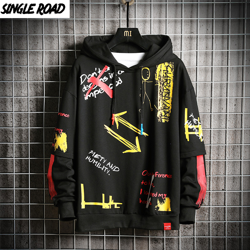 SingleRoad Oversized Men's Hoodies 2020 Hip Hop Print Sweatshirt Male Harajuku Japanese Streetwear Sweatshirts Black Hoodie Men