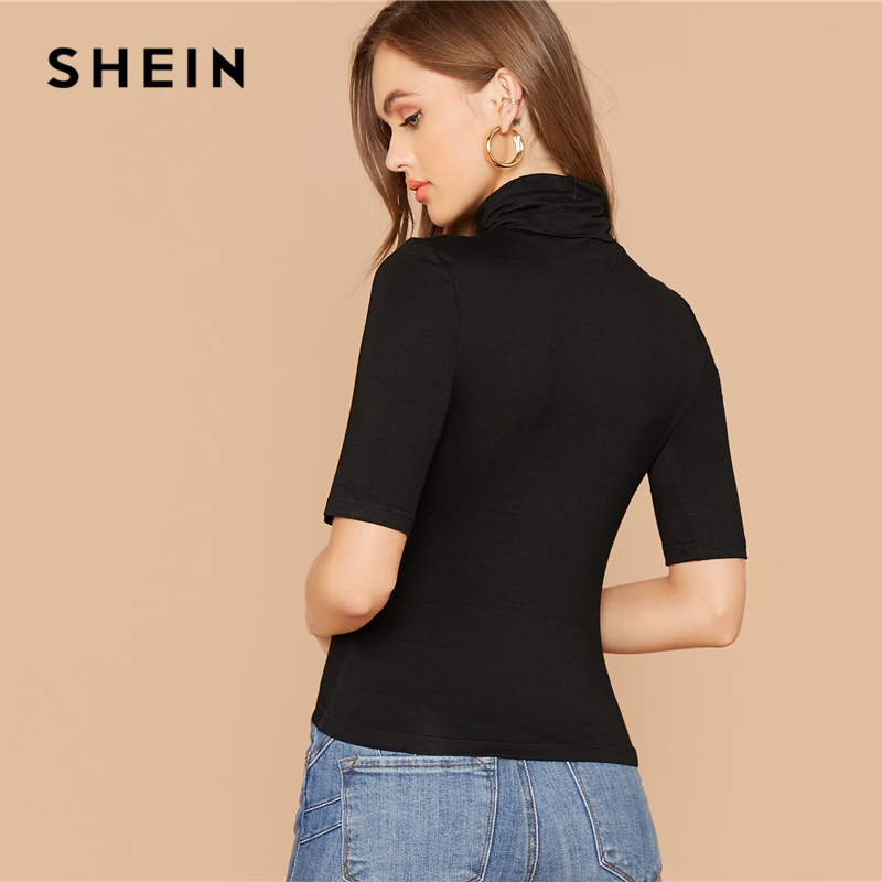SHEIN Black Solid High Neck Form Fitted Casual T-Shirt Women Tops 2019 Autumn Short Sleeve Office Ladies Stretchy Basics Tshirts 2