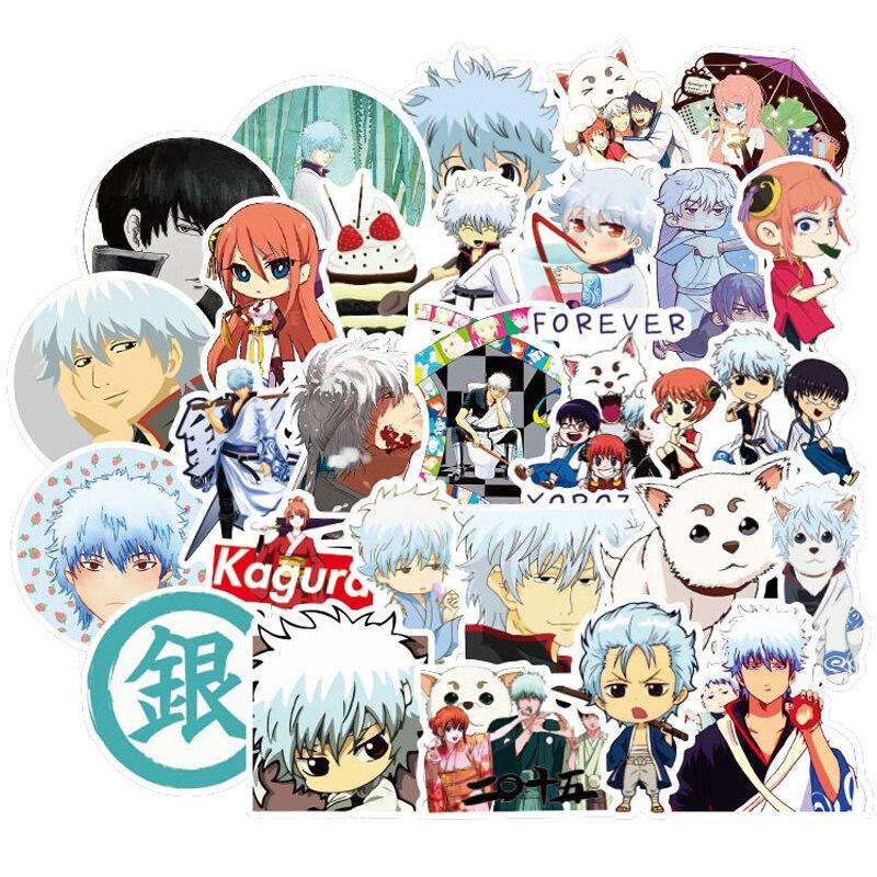 50pcs Funny GINTAMA Stickers Kids Classic Toys Takasugi Shinsuke Cartoon Anime DIY Bus ID Card Stickers Boy Girl Gifts Toys F4