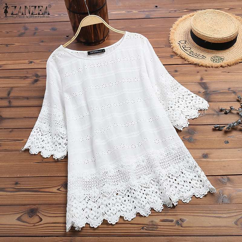 Women's Embroidery Blouse 2020 ZANZEA Elegant Lace Tops Summer Hollow Blusas Female Long Sleeve Shirts Solid Tunic Plus Size
