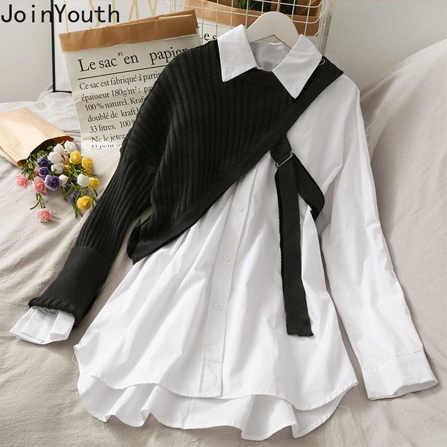 Joinyouth Irregular Shirts Blusas Mujer De Moda 2020 Patchwork Knitwear Tops Korean Blouses Two Piece Sets Blouse Female Clothes 5
