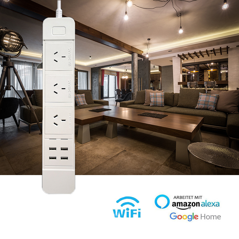 Hf33b1fbe14944ffdb9b93b354b5bbed8d - Wifi Smart Power Strip Multiple Surge Protector 3 Way AU Plug Electrical Outlets Extension Sockets with USB by Alexa Google Home