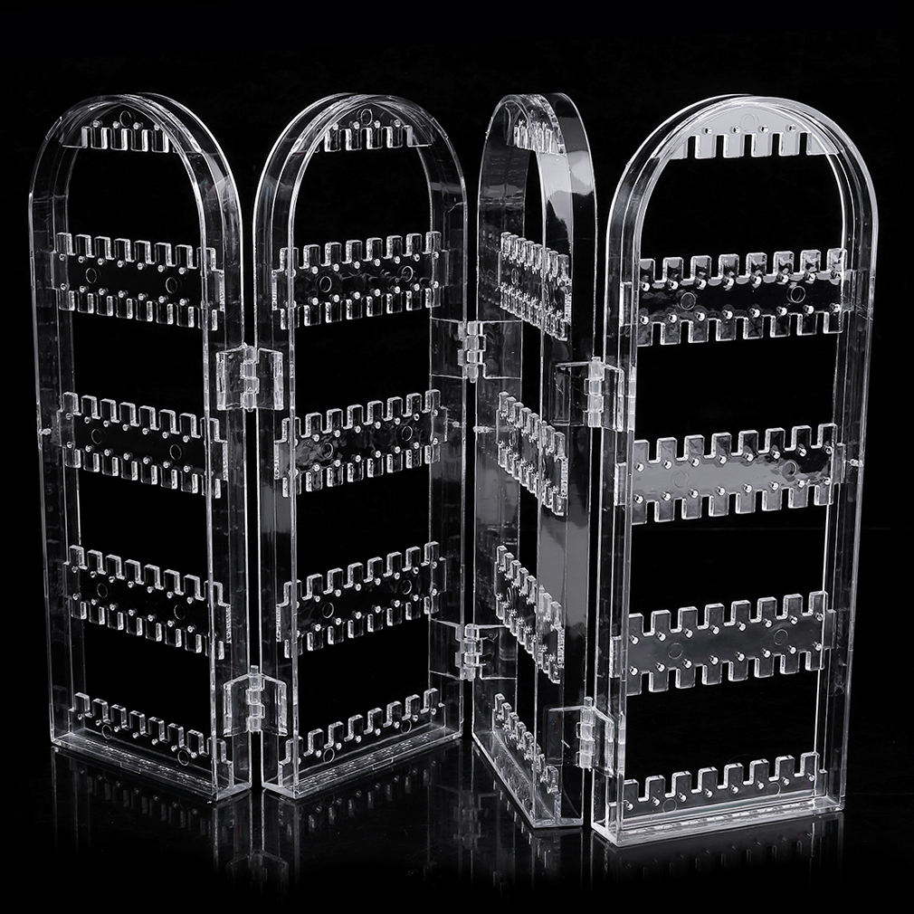 Multifunctional Plastic Folding Screen Earring Jewelry Display Stand Holder Rack Storage Box Transparent Jewelry Holder &15