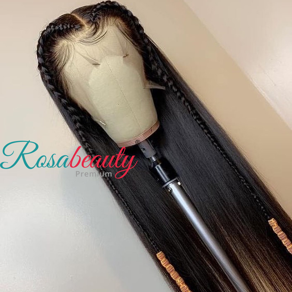 Rosabeauty Straight 13*6 Lace Front Human Hair Wigs Brazilian Virgin Hair For Black Women Pre Plucked 28 30Inch 360 frontal wig