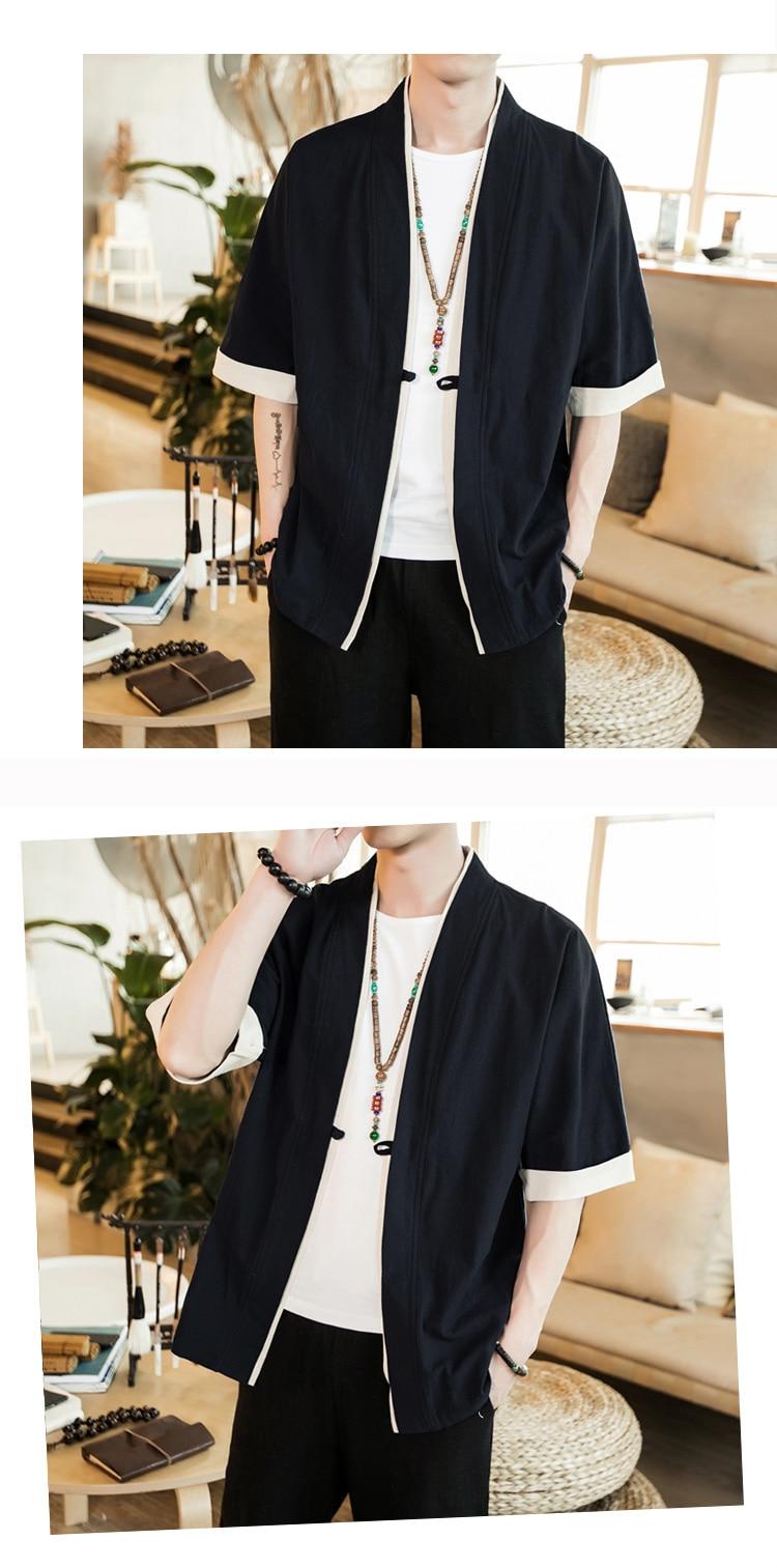 Sinicism Store Men Patchwork Shirt Streetwear Short Sleeve 19 Summer Harajuku Vintage Kimono Shirts Black Fashion Open Stitch 33