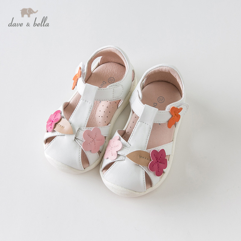 DB13751 Dave Bella Summer Baby Girls Fashion Sandals New Born Infant Shoes Sandals Floral Cartoon Appliques Shoes