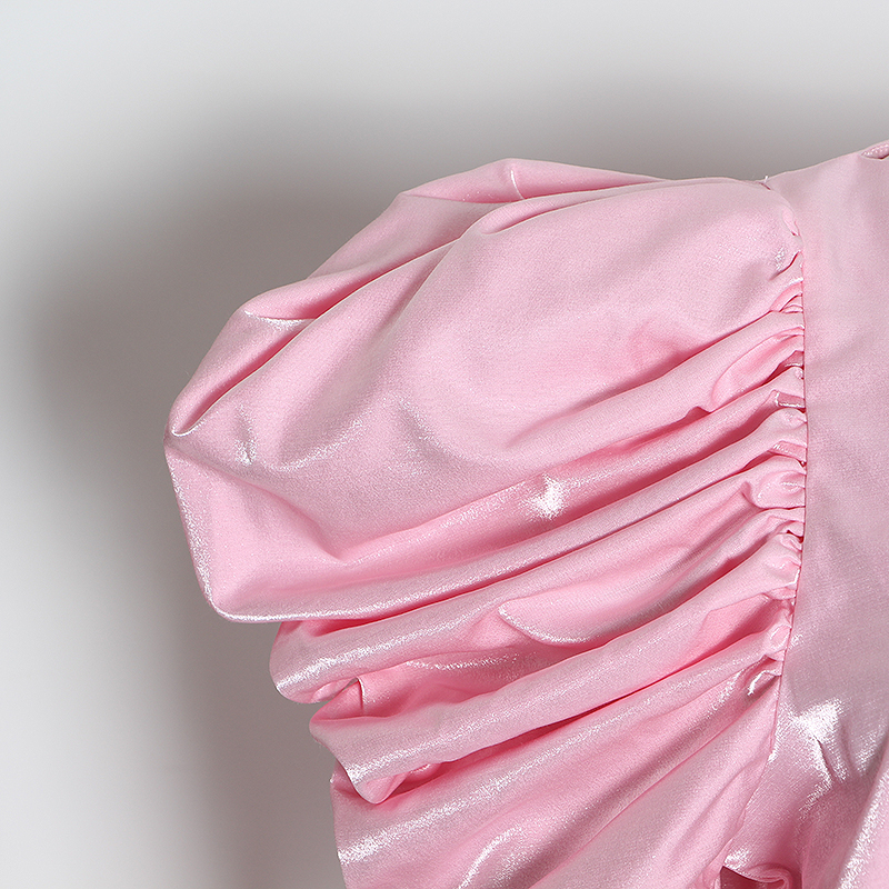 TWOTWINSTYLE Casual Rosa conjunto de dos piezas mujer O cuello camisa de manga farol cintura alta pantalones acanalados túnica traje femenino 2020 ropa nueva - 5