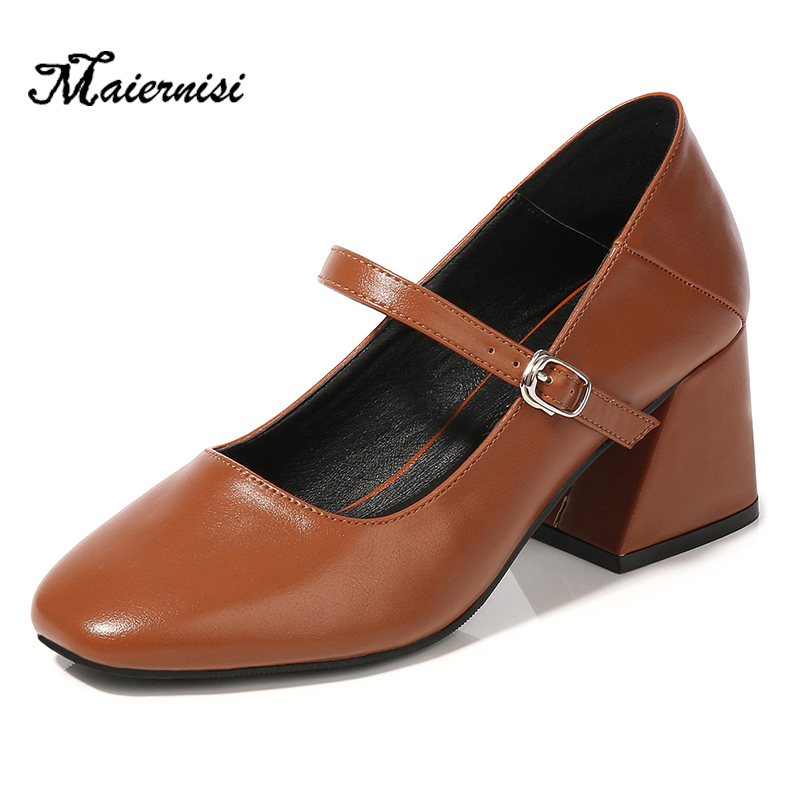 MAIERNISI Vintage Women Pumps Shoes Brand Chunky High Heels 6cm Comfortable For Office Career School Ladies Oversized Size 35-46