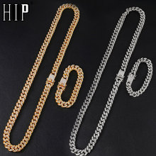 1Set 13MM Full Iced Out Paved Rhinestones Gold Silver Miami Curb Cuban Chain CZ Bling Rapper Necklaces For Men Hip Hop Jewelry
