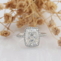 Veryins Classic 14K White Gold Center 4ct 8X10mm FG Color Cushion Cut Moissanite Halo Engagement Ring for Women Wedding Gift