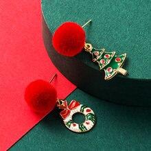 Милый Рождественский венок серьги с подвеской в виде рождественской
