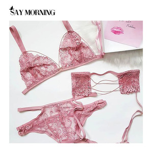 SAY MORNING 2020 New Sexy Bra & Brief & Garters Sets Sexy Lingerie Sets Women Intimates Lace Ultrathin Hollow out Underwear