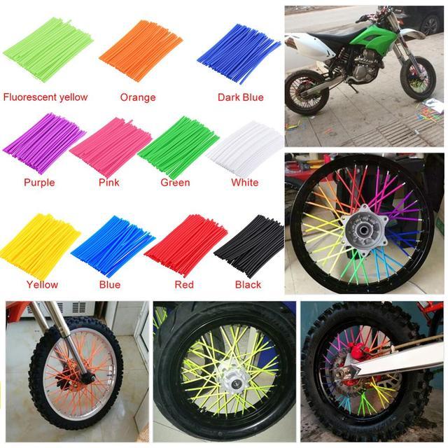 36 個オートバイホイールスポークプロテクターラップリムスキンカバーのためのモトクロス自転車バイククールアクセサリー 11 色