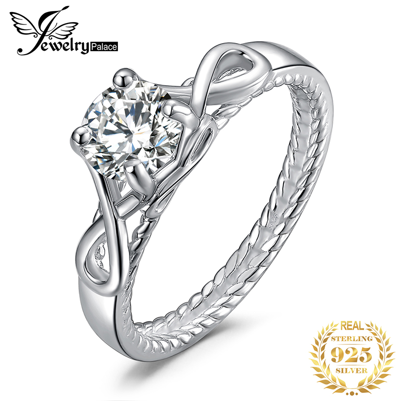 JewelryPalace Infinity CZ Engagement Ring 925 Sterling Silver Rings For Women Anniversary Ring Wedding Rings Silver 925 Jewelry