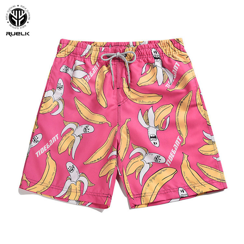 MillionZH Men Cute Monkey Banana Cartoon Summer Beach Board Shorts Swimming Trunks Cargo Shorts