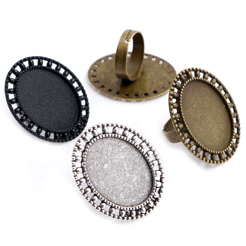 18x25mm 5pcs Antique Silver Plated Bronze Black Brass Oval Adjustable Ring Settings Blank/Base,Fit 18x25mm Glass Cabochons