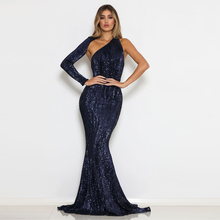 One Shoulder Sequined Maxi Dress Sleeve Sexy Open Back Bodycon Floor Length Navy Green Mermaid