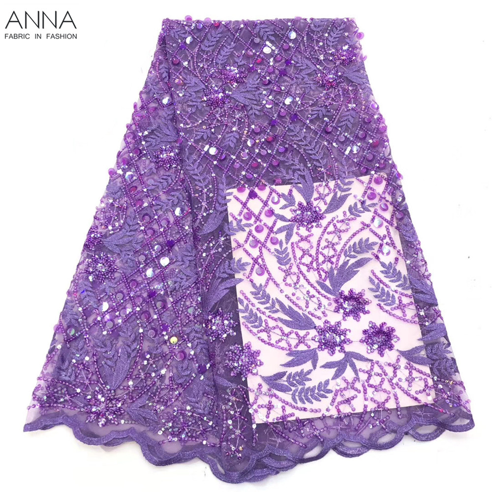 ANNA Purple Sequins Lace Fabric African Net Lace French Tulle Lace Fabric High Quality Nigerian Embroidered Mesh Lace  Fabric