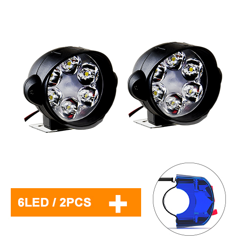 Vxhohdoxs 2Pcs Motorcycles Headlight 6000k White 6 LED Working Spot Light 8W 1000LM Motorcycle Headlights with Switch Motorcycle Front Spotlights LED Motorcycle Fog Lights with Universal Button