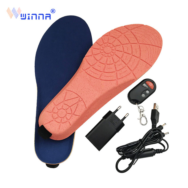 New Wireless Control Electric Heating Thermal Insoles Winter Warm Velvet 1800mAh Increase Heated Insoles for Men Women Shoe Pads