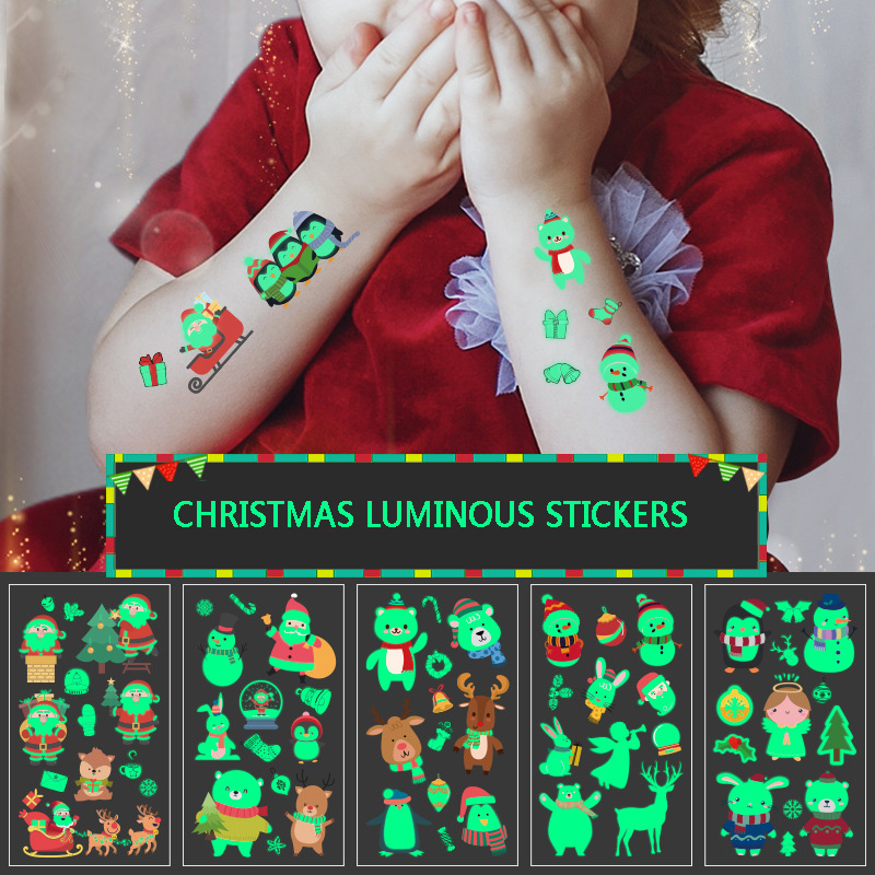 1PCS Christmas Luminous Temporary Tattoo Stickers Snowman Penguin Face Cartoon Stickers Children Toys