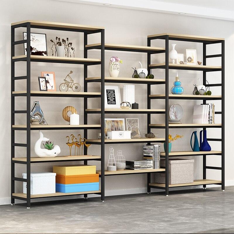Einstellbare stahl holz bücherregal display regal boden wohnzimmer regal einfache multi stöckige regal.