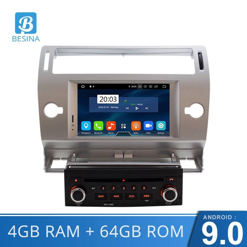 Besina Android 9.0 car DVD Player For Citroen C4 Quatre Triumph Multimedia GPS Navigation WIFI Octa Cores 4GB 1 Din Car Radio image