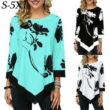 2020 Ladies Floral Shirt Casual Irregular Long Sleeve Blouse Loose Tunic Top Plus Size Ladies Blouses 5XL Shirts Roupa Feminina 1