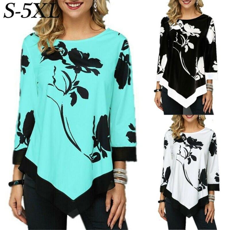 2020 Ladies Floral Shirt Casual Irregular Long Sleeve Blouse Loose Tunic Top Plus Size Ladies Blouses 5XL Shirts Roupa Feminina