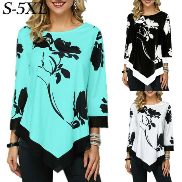 2020 Ladies Floral Shirt Casual Irregular Long Sleeve Blouse Loose Tunic Top Plus Size Ladies Blouses 5XL Shirts Roupa Feminina