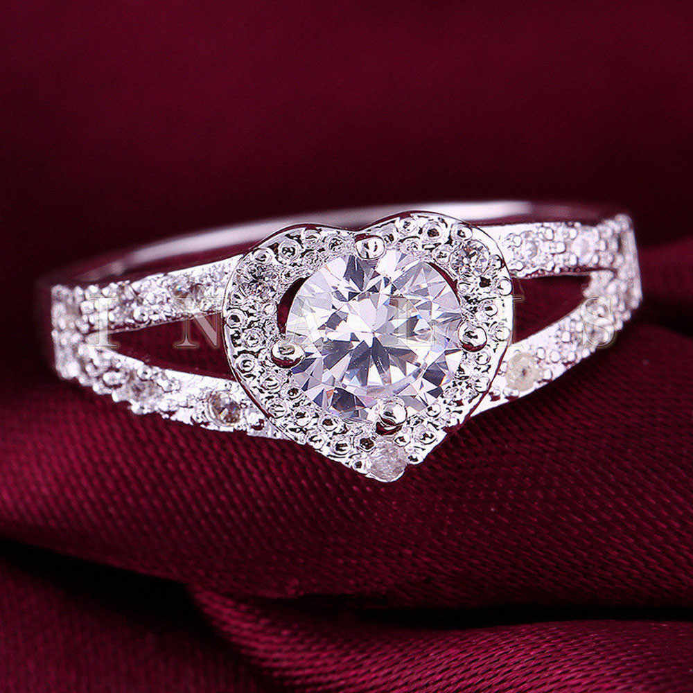 Splitter herz-förmigen ring Luxus CZ Stein ringe für frauen hochzeit braut ringe Herz Geformt Liebe freeshipping schmuck dropship