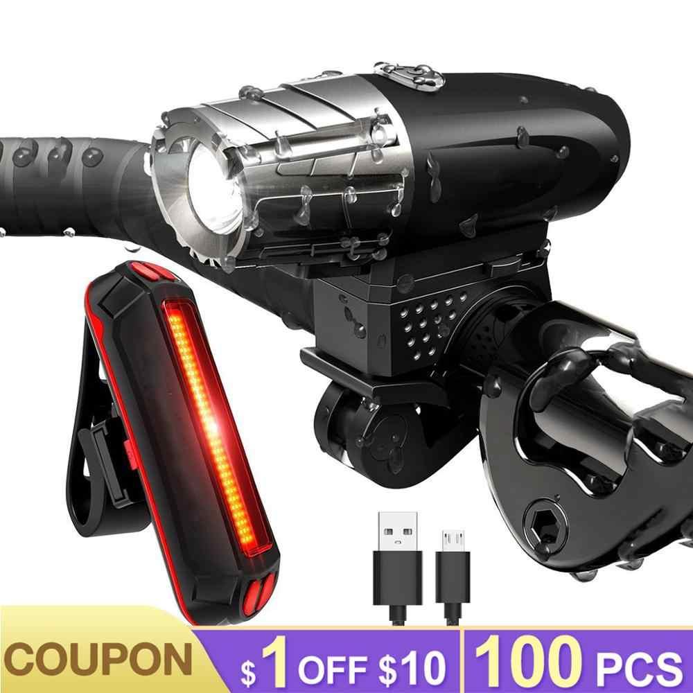 LED vélo lumière Rechargeable avant vélo lumière USB lampe de poche vélo arrière lanterne vélo phare étanche vélo feu arrière
