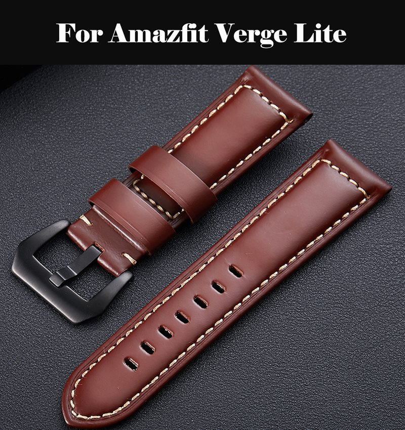 Genuine Leather Watch Band Strap Watch Band 18mm 20m 24mm Leather 22mm Band For Amazfit Verge Lite