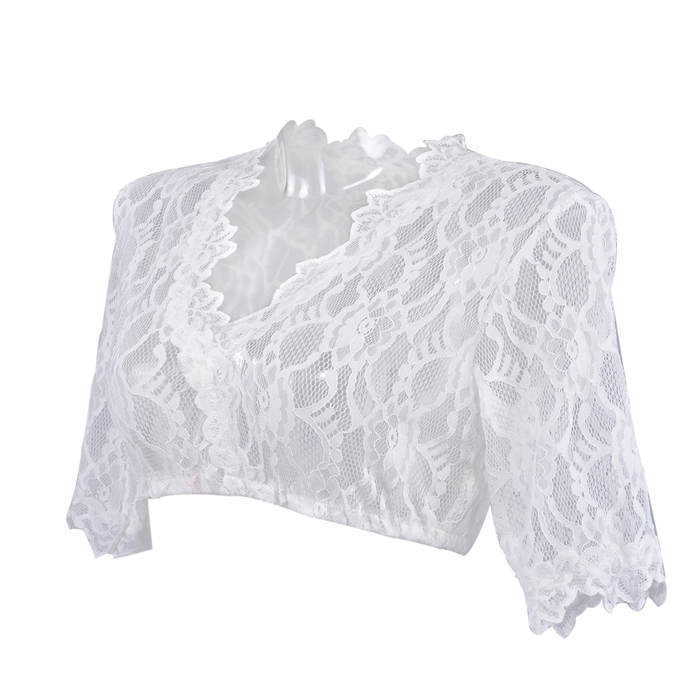 Women Short Sleeve Lace Vest Shirt Traditional Dirndl Blouse Beer V Neck Top