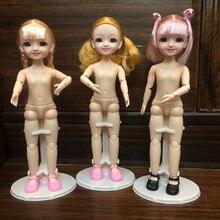 30 см с голубыми глазами 1/6 BJD кукла с 3D глазами одеваются милая кукла с улыбкой розовый/Золотой зимние женские полусапоги с Обнаженная девушк...