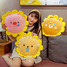 KUY New Hot Super Soft Huggable Stuffed Animal Dog Bear Pig Cat Sunflower Pillow with Blanket Inside Plush Toy Lovely Kid Gift