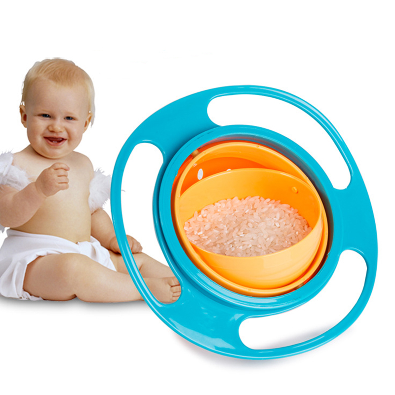 No Spill Infants Toddler Baby Kids Training Feeding Bowl Practice Feeding Spill  Baby Feeding Dish Magic Bowl 360 Rotate Spill-P