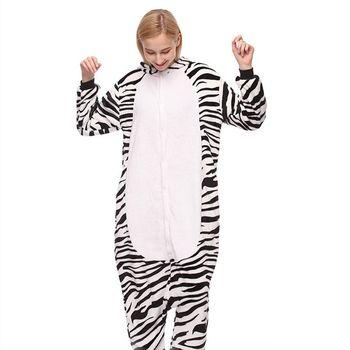 Zwierzęta Zebra kostium dla dorosłych mężczyzn Onesies Kigurumi flanelowe kobiety Anime kombinezon przebranie Onepiece kombinezon z kapturem tanie i dobre opinie Finkfir Kombinezony i pajacyki Unisex Zestawy CHARLIE Animal Poliester Kostiumy