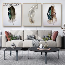 Laeacco Feather Poster Wall Art Canvas Painting Posters And Prints Wall Decor Pictures for Living Room Decoration Frameless