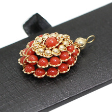 Beadsnice Gold Filled Red Coral Pendant Fine Jewelry for Necklace Making Wedding Gift 39770