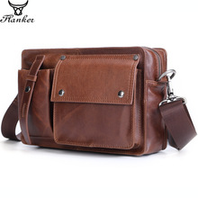 Flanker genuine leather men messenger bags soft cowhide fashion shoulder bag vintage brand travel crossbody bag man bag for ipad цены