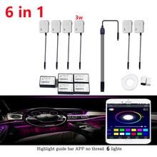 6 in 1 3W Super RGB NO Threading Ambient Light APP Control DIY Soft Refit Optic Fiber Band For Car Interior Decorative Light