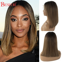 13x6 Lace Front Wigs For Women Human Hair Ombre Brown Free Part Short Bob Wig Highlight Thick 180% Straight Remy With Baby Hair