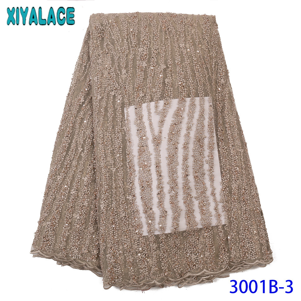 French Net Lace Fabric 2019 High Quality Lace Fabric Handmade Beaded Laces Nigerian Lace Material For Wedding KS3001B