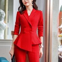 Красные женские костюмы офисные комплекты 2 шт. двубортный модный Дамский жакет Блейзер Верхняя одежда женские брюки костюмы slin fit
